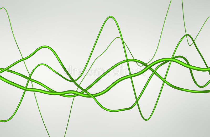 Abstrakte Wiedergabe 3D von glatten gewellten Linien lizenzfreie abbildung