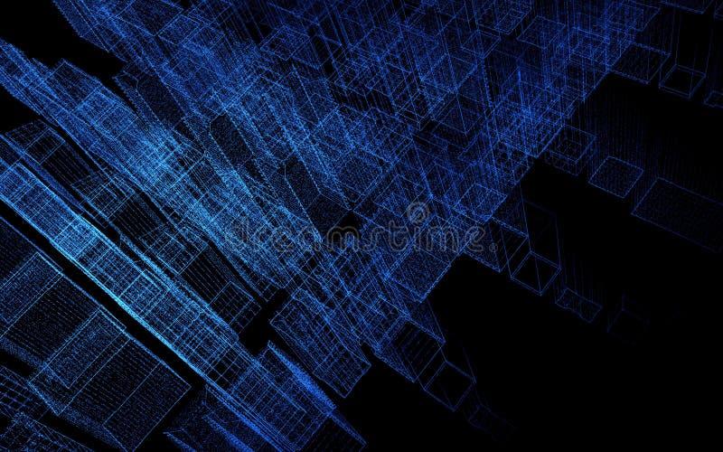 Abstrakte Wiedergabe der Stadt 3d mit Punkten und digitalen Elementen Getrennt auf Weiß Abbildung 3D vektor abbildung