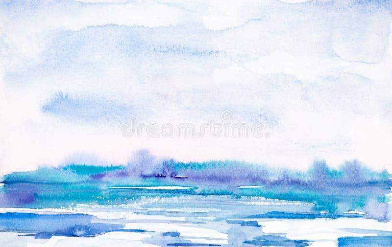 Abstrakte Winterlandschaft des Waldes und des schneebedeckten Feldes Hand gezeichnete Aquarellillustration stock abbildung