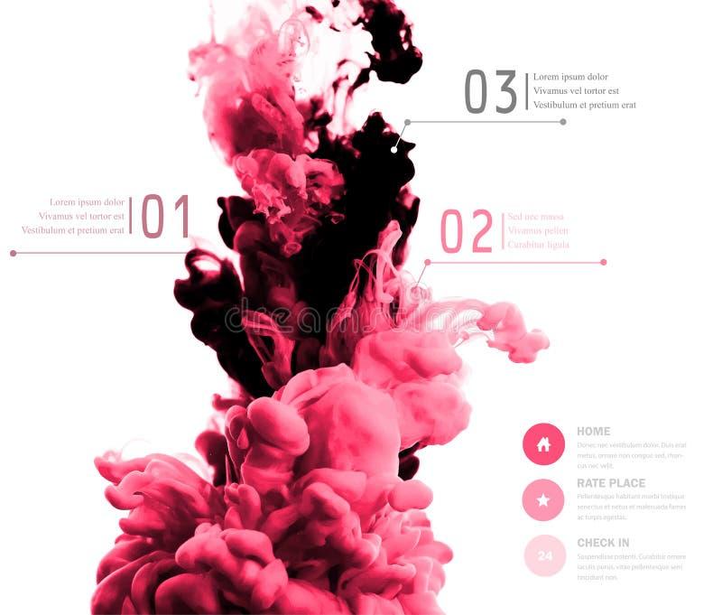 Abstrakte Wolke des Vektors Schwärzen Sie das Wirbeln in Wasser, Wolke der Tinte im wa mit Tinte lizenzfreie abbildung