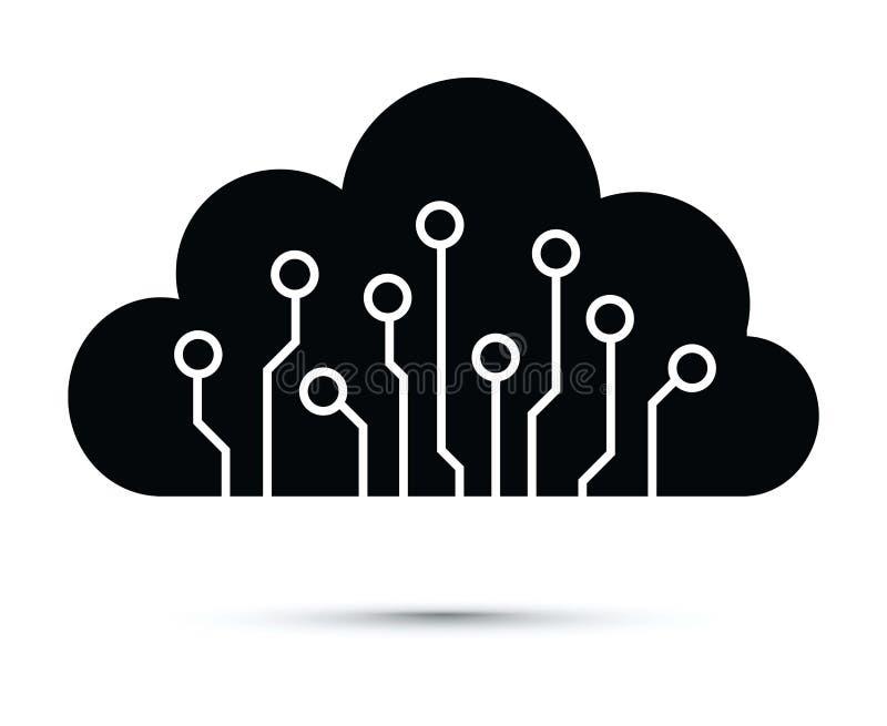 Abstrakte Wolkencomputer-chip-Ikone lizenzfreie abbildung
