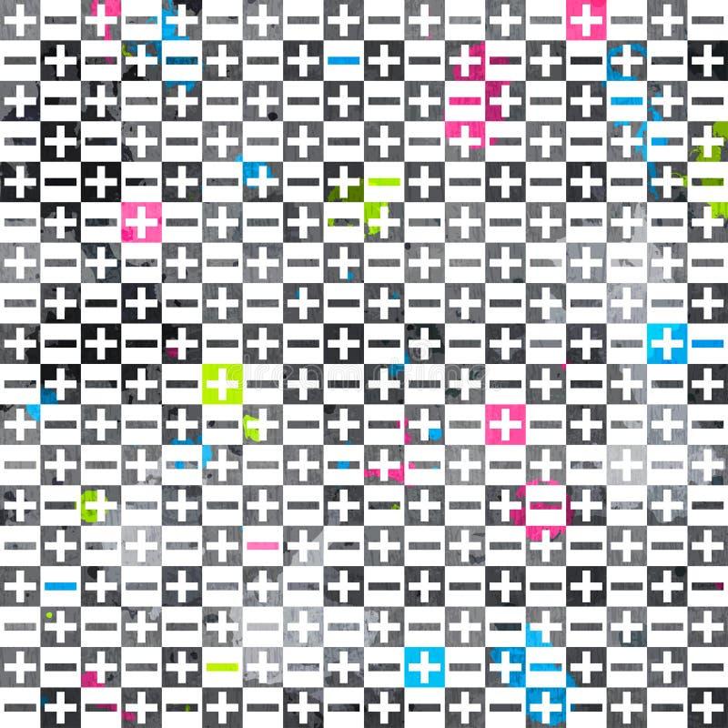 Abstrakte Zeichen Färbten Nahtloses Muster Mit Schmutzeffekt Stockfotografie