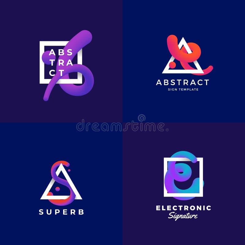 Abstrakte Zeichen oder Logo Templates Set Elegante Vektor-Mischungs-Kurve in einem Rahmen mit ultravioletter Steigung und modern lizenzfreie abbildung