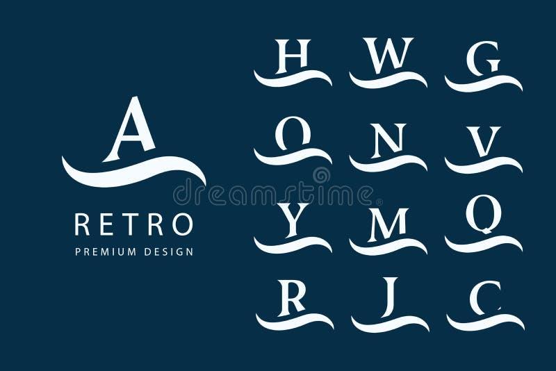 Abstrakte Zeichenauslegung Moderne Embleme Satz Großbuchstaben auf der Welle Kennzeichen der Unterscheidung Minimale Elemente Uni lizenzfreie abbildung
