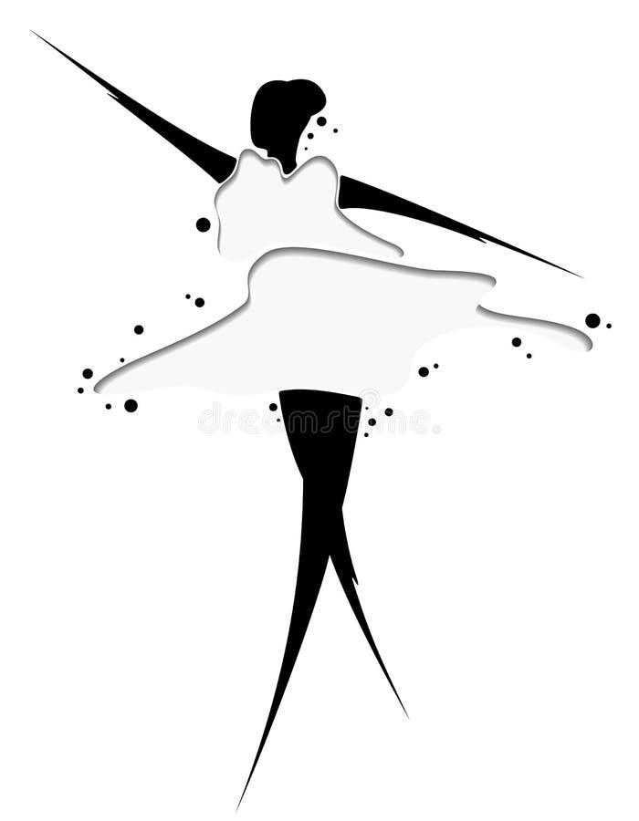 Abstrakte Zeichnung eines Mädchens im Kleid Grafik für Tätowierung, Gewebe, Andenken, verpackend, Grußkarten und Scrapbooking - vektor abbildung
