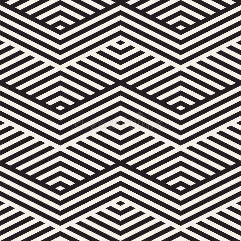 Abstrakte Zickzack-Ähnlichkeits-Streifen Stilvolle ethnische Verzierung Vector nahtloses Muster stock abbildung