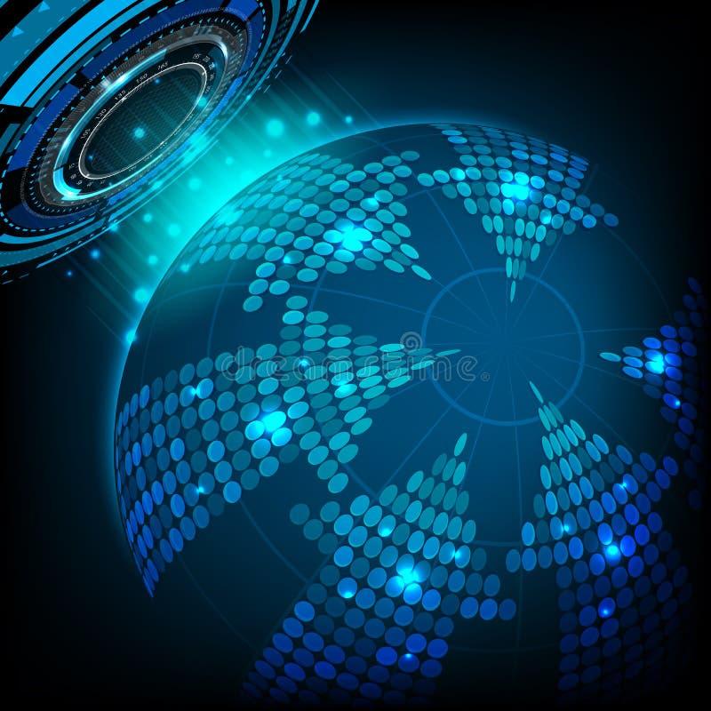 Abstrakte zukünftige Technologie und Pfeil am Weltkonzepthintergrund vektor abbildung