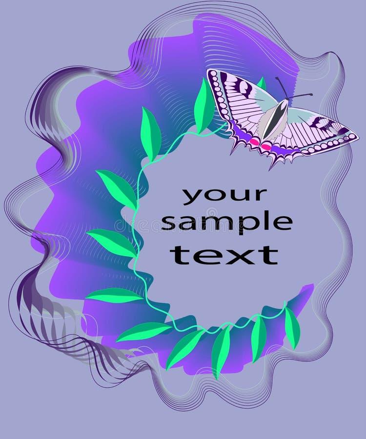 Abstrakte Zusammensetzung mit Blättern und einem Schmetterling auf purpurrotem Hintergrund stock abbildung