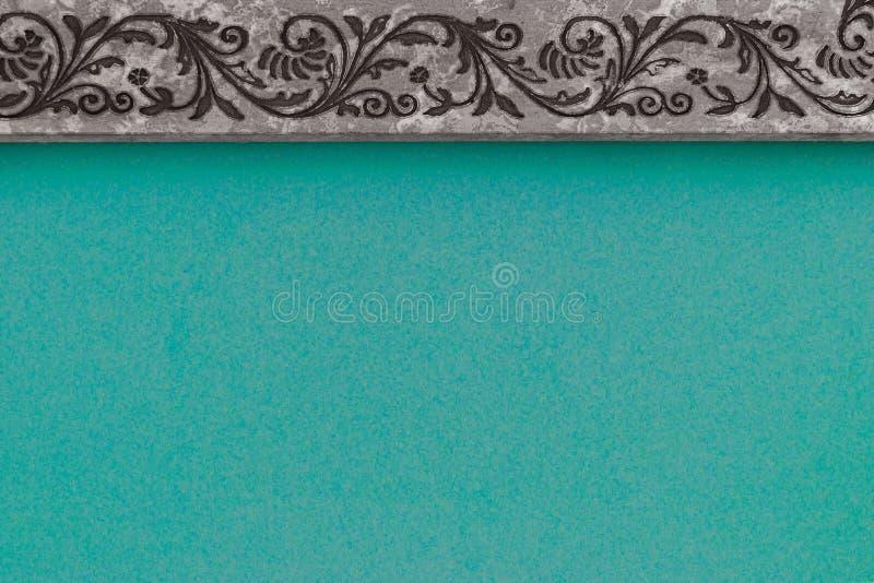 Abstrakte Zusammensetzung mit cerulean Hintergrundoberfläche und grauer Rahmen mit Muster lizenzfreie stockbilder