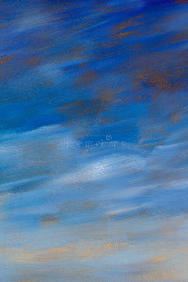 Abstrakter Ölgemäldehintergrund des blauen Himmels der Beschaffenheit Gezeichnete Grafik der Nahaufnahme Makrohand lizenzfreie stockfotos