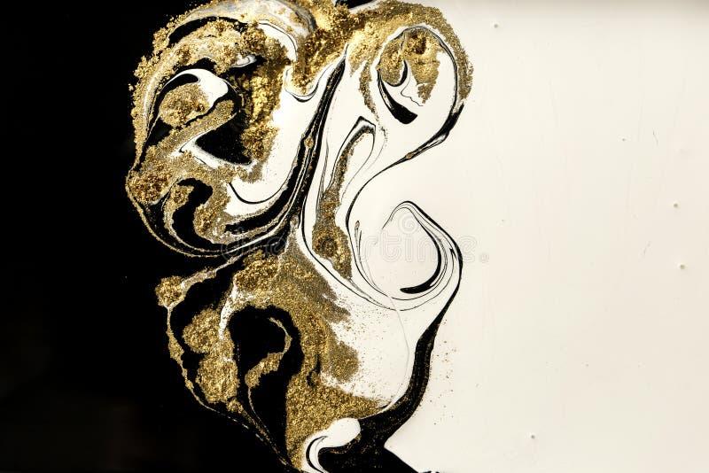 Abstrakter Acrylmarmorierunghintergrund Marmornde Grafikbeschaffenheit Achatkräuselungsmuster Goldpulver stockbilder