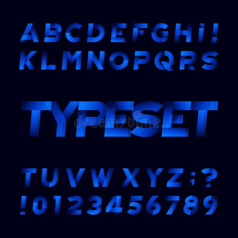 Abstrakter Alphabetguß Schiefe Art Buchstaben und Zahlen Schwarzer Hintergrund lizenzfreie abbildung