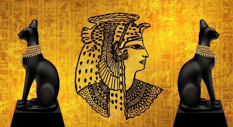 Abstrakter alter ägyptischer Hintergrund, Kleopatra stock abbildung