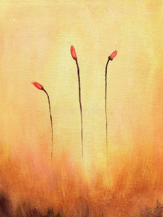 Abstrakter Anstrich der Blumen lizenzfreie abbildung