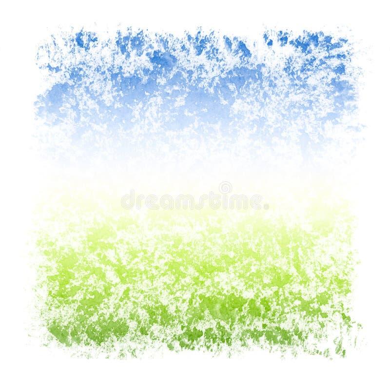 Abstrakter Aquarell-Himmel-und Gras-Quadrat-strukturierter Rahmen ...