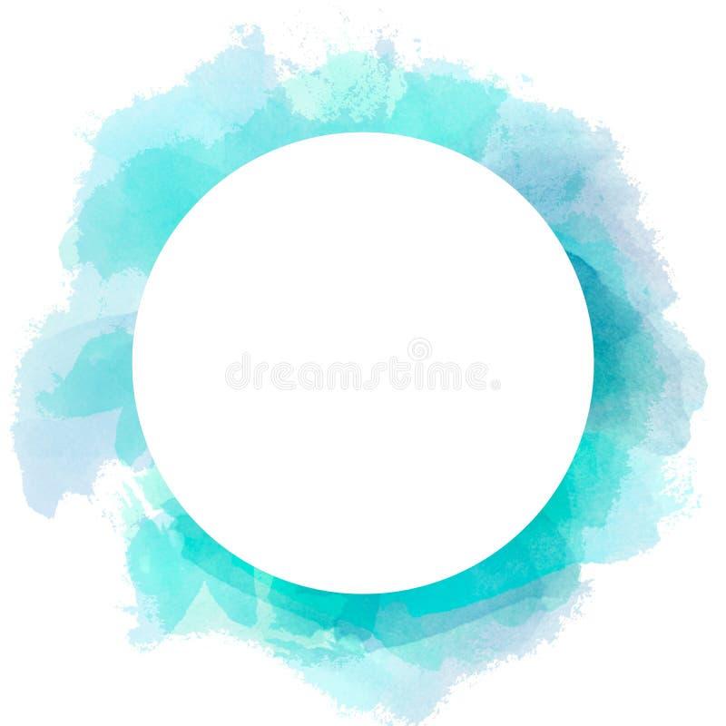 Abstrakter Aquarellkreishintergrund in der blauen und grünen Farbe Bürstenanschlagillustration mit weißem Kopienraum des Kreises vektor abbildung
