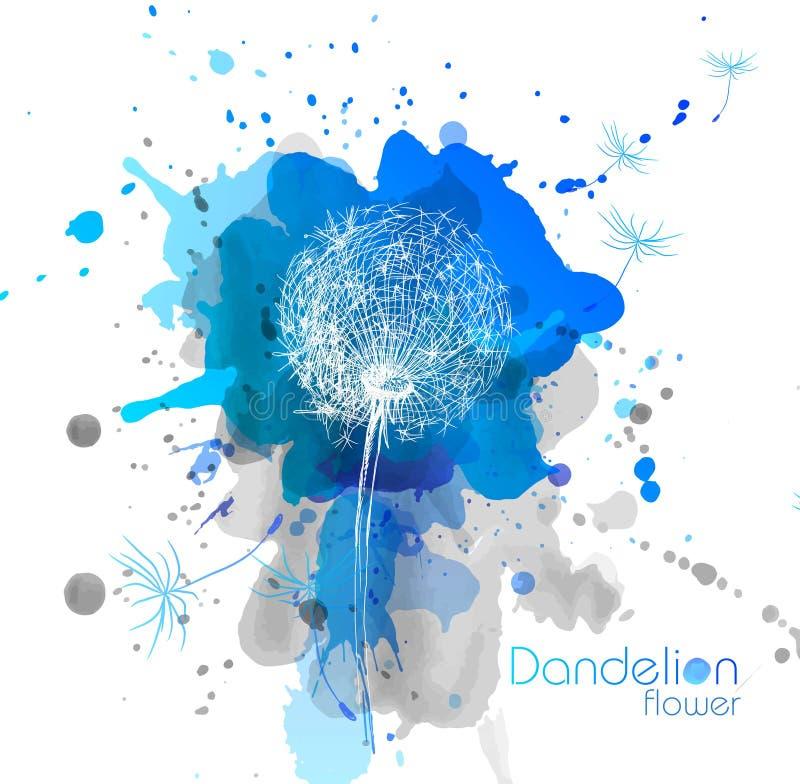 Abstrakter Aquarellkunsthandfarbenhintergrund mit Blume dandel lizenzfreie abbildung