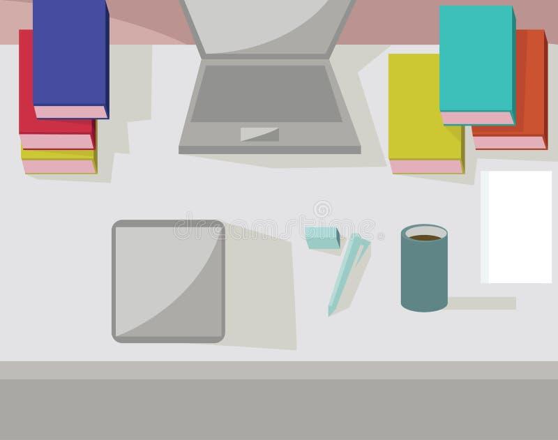 Abstrakter Arbeitsplatz, modernes Büro Innen, flaches Design vektor abbildung