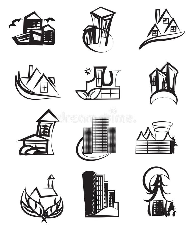 Abstrakter Architekturaufbau stock abbildung