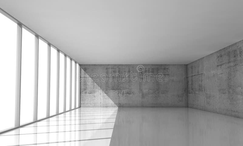 Abstrakter Architekturhintergrund, leerer weißer Innenraum stock abbildung