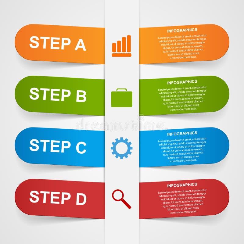 Abstrakter Aufkleber des Papiers 3d infographic stock abbildung