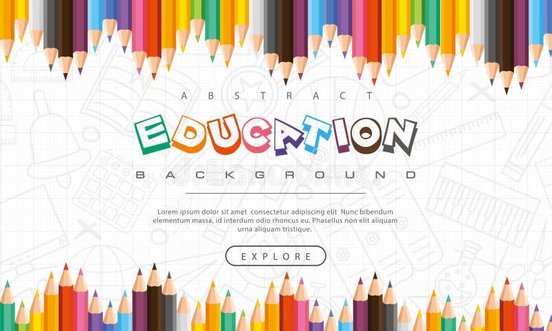 Abstrakter Ausbildungshintergrund, zurück zu der Schule, lernend, Student, Unterricht, Vektorillustrationshintergrund mit bunten  lizenzfreie abbildung