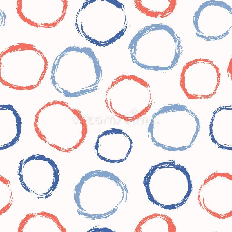 Abstrakter Bürsten-Anschlag kreist nahtloses Vektor-Muster, Polka Dots Hand Painted Illustration ein stock abbildung