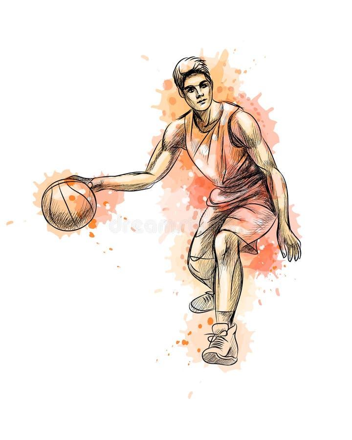 Abstrakter Basketball-Spieler mit Ball von einem Spritzen des Aquarells stock abbildung