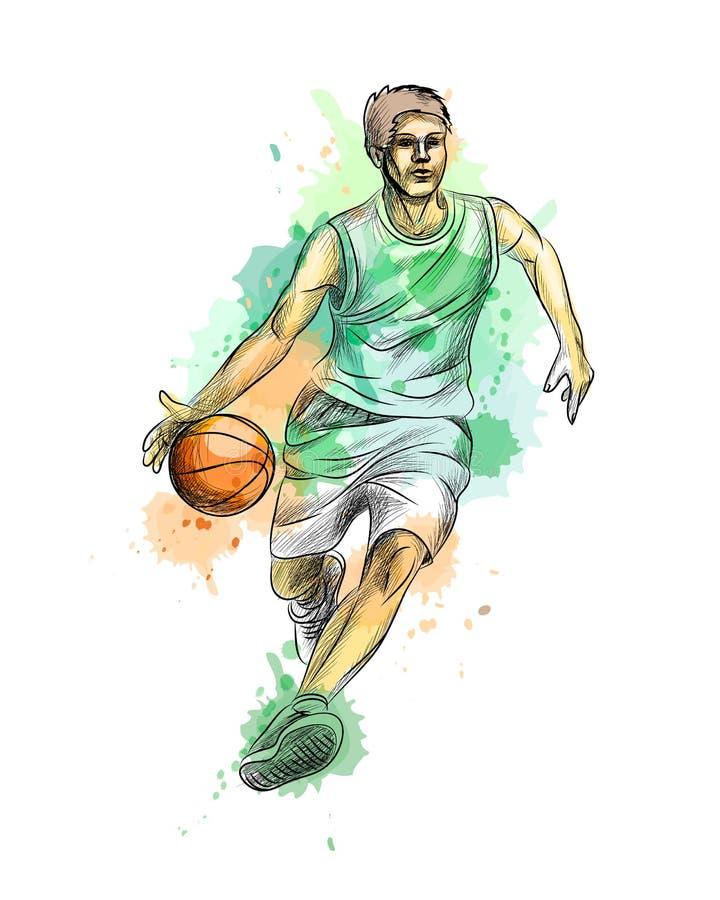 Abstrakter Basketball-Spieler mit Ball von einem Spritzen des Aquarells lizenzfreie abbildung