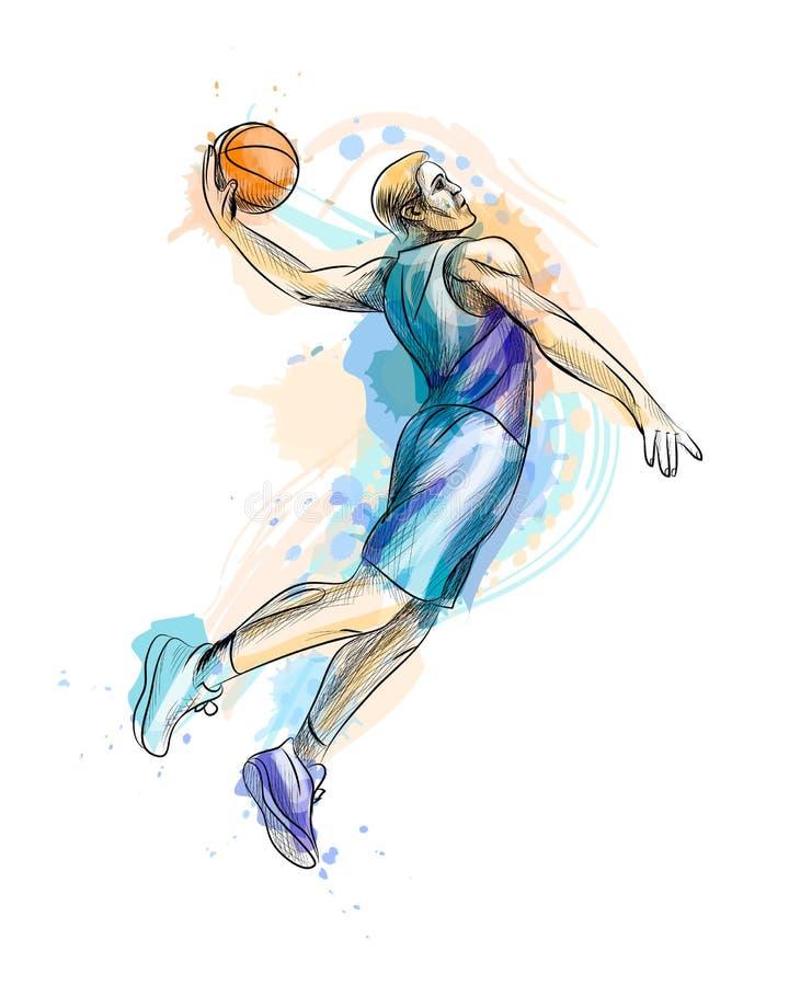 Abstrakter Basketball-Spieler mit Ball von einem Spritzen des Aquarells vektor abbildung
