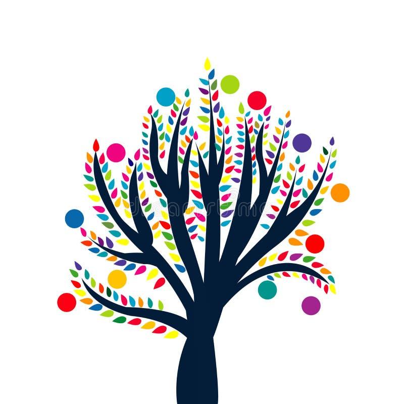 Abstrakter Baum mit farbigen Blättern und Früchten lizenzfreie abbildung