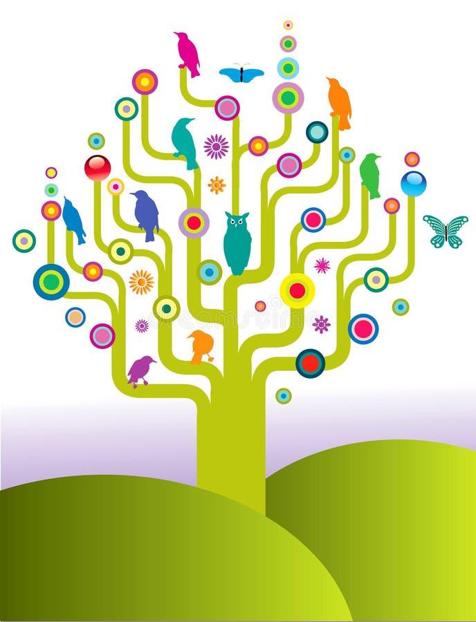 Abstrakter Baum mit Vögeln vektor abbildung