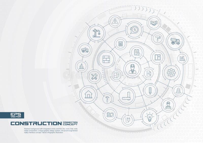 Abstrakter Bautechnologiehintergrund Digital schließen System mit integrierten Kreisen, dünne Linie Ikonen an stock abbildung
