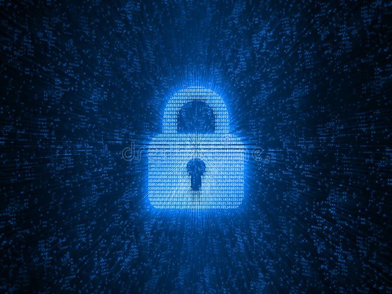 Abstrakter Begriff der globalen Internet-Sicherheit Digital-Auflagenverschluß hergestellt durch Binärzahlen auf Maschenglühen-Pun vektor abbildung