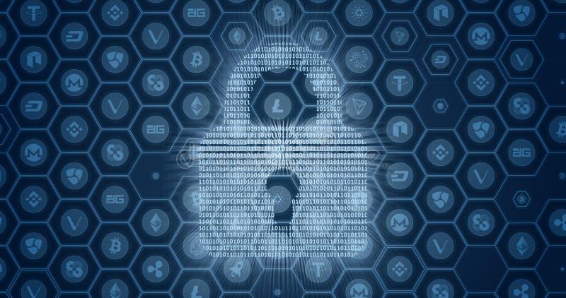 Abstrakter Begriff der Scheinsicherheit der globalen Schlüsselwährung Digital-Auflagenverschluß hergestellt durch Binärzahlen lizenzfreie abbildung