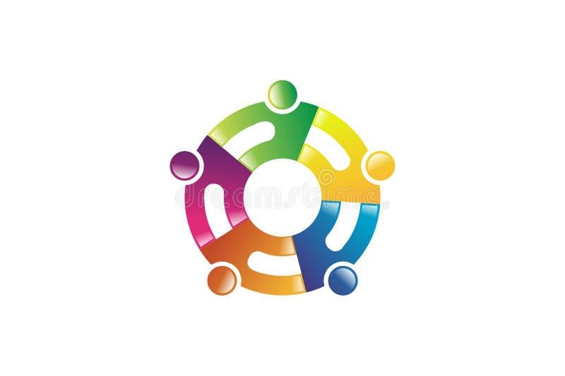Abstrakter Begriff für buntes Gemeinschaftsleutelogo stock abbildung