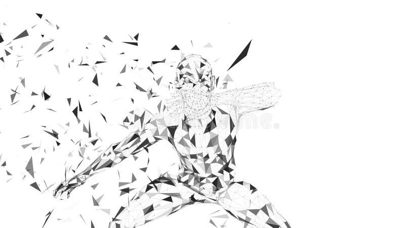 Abstrakter begrifflichmann, der sein Gesicht mit der Hand versteckt Verbundene Linien, Punkte, Dreiecke, Partikel auf weißem Hint stock abbildung