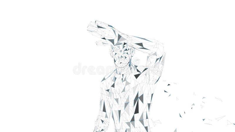 Abstrakter begrifflichmann, der sein Gesicht mit der Hand versteckt Verbundene Linien, Punkte, Dreiecke, Partikel Das Wort der ro stock abbildung