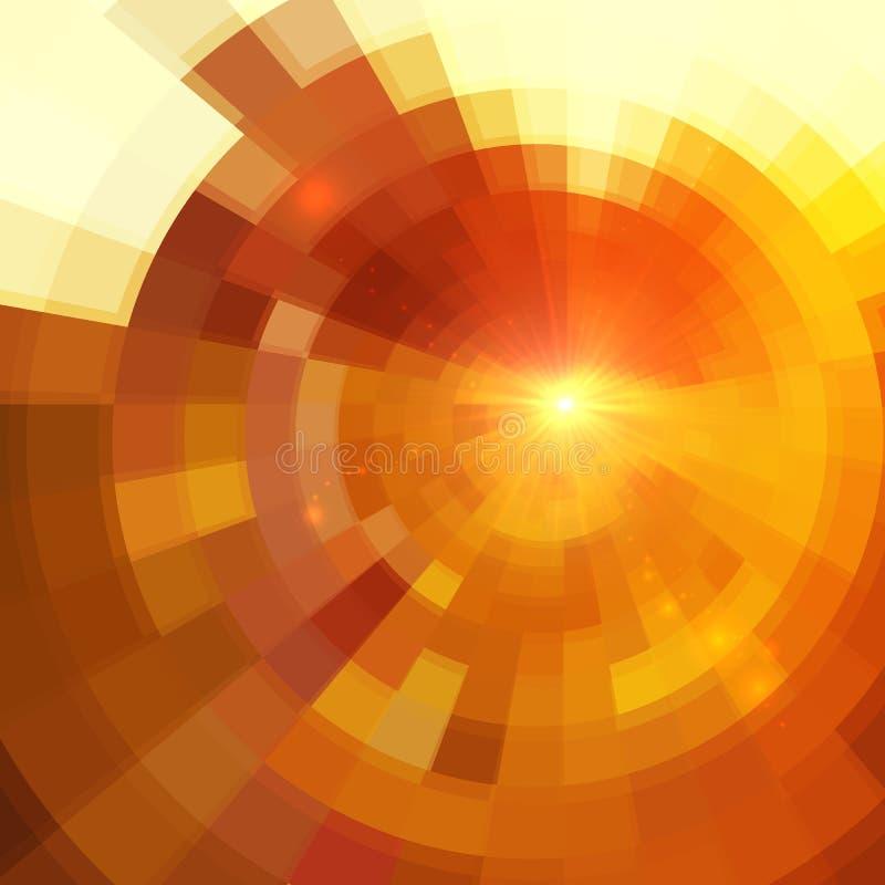 Abstrakter beige Kreisvektor deckte Hintergrund mit Ziegeln vektor abbildung