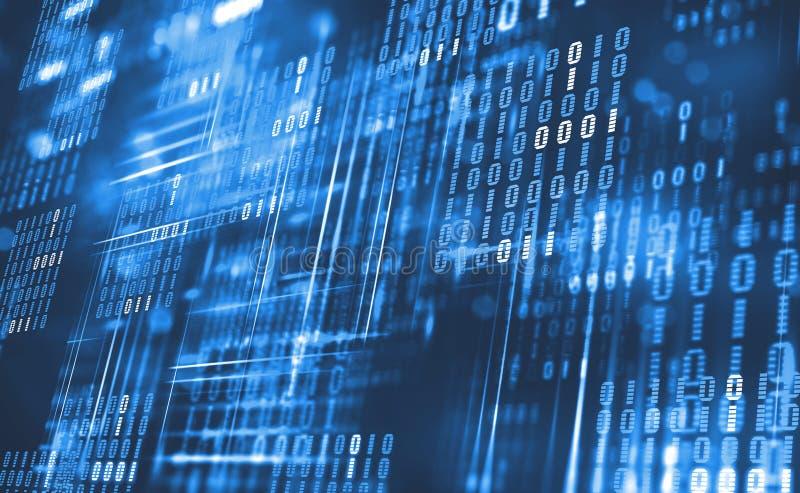 Abstrakter binärer Code Wolkendaten Blockchain-Technologie Digital-Cyberspace lizenzfreie abbildung