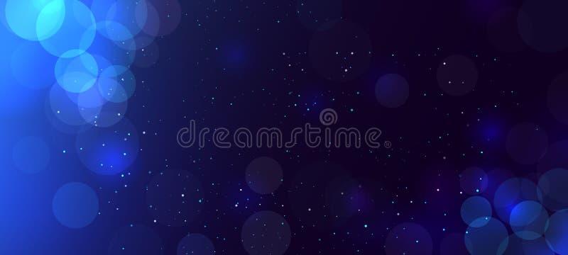 Abstrakter blauer bokeh Hintergrund mit Kreisen defocused funkeln Dekorationselement für Weihnachts- und SylvesterabendFeiertage stock abbildung