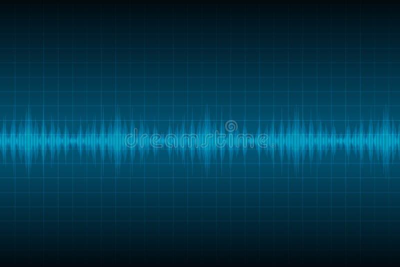 Abstrakter blauer digitaler Entzerrer, Vektor des Schallwellemusterelements vektor abbildung