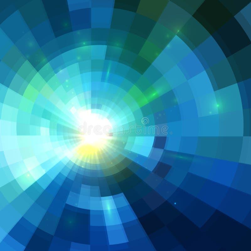 Abstrakter blauer glänzender Tunnelhintergrund vektor abbildung