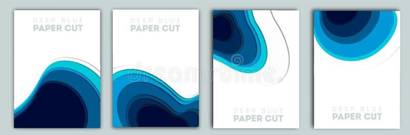 abstrakter blauer Hintergrund 3D mit tiefen Papierschnittformen modern Vector Entwurf f?r Gesch?ftsdarstellungen, Flieger, Poster vektor abbildung