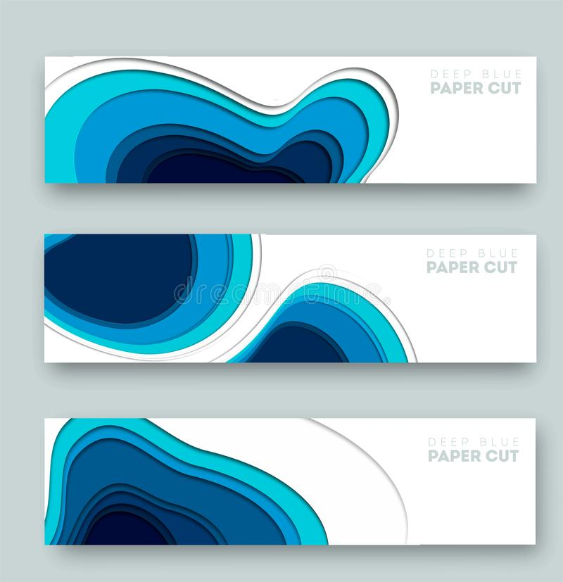 abstrakter blauer Hintergrund 3D mit tiefen Papierschnittformen modern Vector Entwurf f?r Gesch?ftsdarstellungen, Flieger, Poster stock abbildung