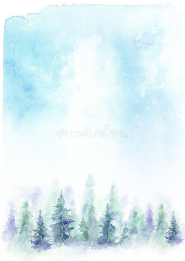 Abstrakter blauer Hintergrund des Aquarells mit einer Waldlandschaft Blaue Tannen lizenzfreie abbildung