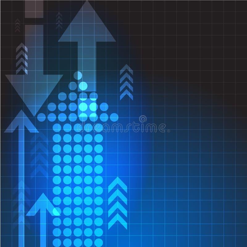 Abstrakter blauer Hintergrund des Vektors mit Pfeilen Blaue Bewegungswelle mit dem weißen Platz, zum des Textes einzustecken oder lizenzfreie abbildung