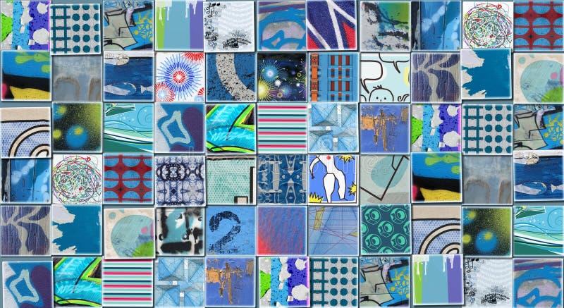 Abstrakter blauer Hintergrund gemacht mit kleinen Illustrationen stock abbildung
