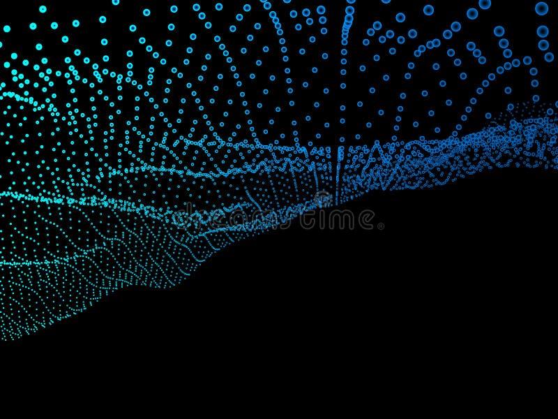 Abstrakter blauer Hintergrund Gewellte Struktur mit glänzenden Punkten stock abbildung
