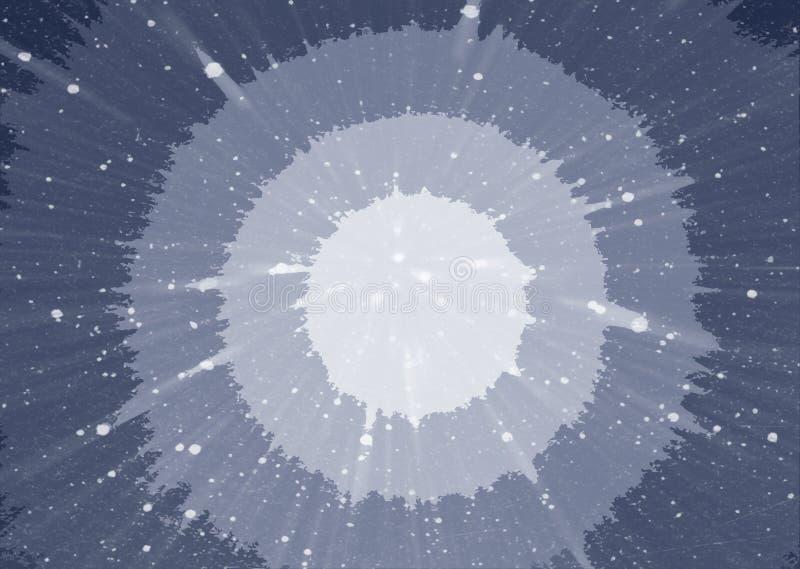 Abstrakter blauer Hintergrund mit Kreisen in der Mitte Kosmischer Hintergrund, der in den Abstand ausdehnt stockbilder